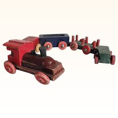 Lovely Handmade Wooden Miniature Train for Doll Village