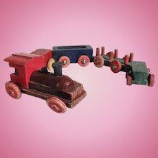 Lovely Handmade Wooden Miniature Train for Doll Village