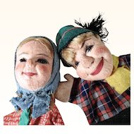 Pair of Hand Puppets Hansel and Gretel  Germany