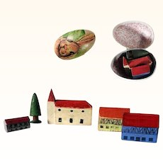 German Miniature Wooden Putz Houses Doll Village in Candy Container Tiniest House 0.8 inches!