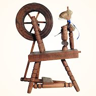 Wooden Spinning Wheel with Movement for Doll Cabinet ca. 1920