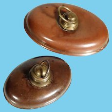 Pair of Miniature Brass Bed Warmer Doll House Size