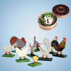 Chip Box with Miniature Poultry Farm German Wooden Birds for Doll House