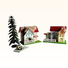 Spring is Coming – Two Putz Houses Tree and Bench Doll Village