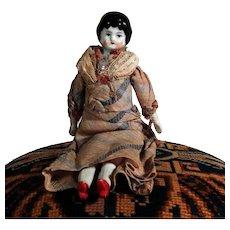 Lovely German Porcelain Shoulder Head Doll ca. 1900