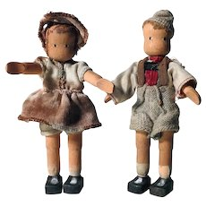 Darling Pair of Wooden Articulated  Dolls Boy and Girl Erzgebirge