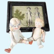 Pair of Tiny Bisque Dolls  & Doll House Picture