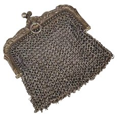 19th Century Amazing French Silver Mesh Purse