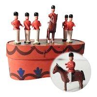 Set of Six Wooden Miniature Soldiers Guards Erzgebirge
