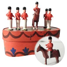 Set of Six Wooden Miniature Soldiers Guards Erzgebirge