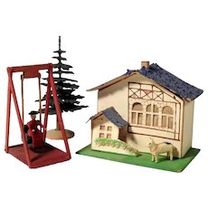 Putz House Swing Tree Dog – Miniatures for a Doll House
