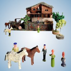 Miniature Farm House Horses Persons for Doll Village