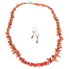 Lovely Coral Demi-Parure Necklace and Earrings for a Young Girl