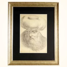 19C Excellent Portrait of an old Man Drawing