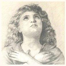 19th Drawing Praying Young Girl