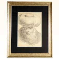 19C Portrait of an Oriental Chieftain Drawing in the Manner of Dietricy