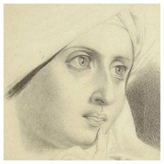 Stunning Pencil Drawing Young Woman ca. 1900 Artist Signed