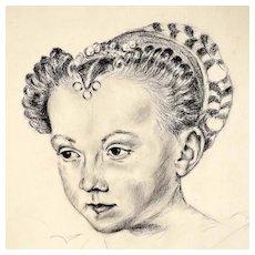 Drawing of a Beautiful Renaissance Lady ca. 1900