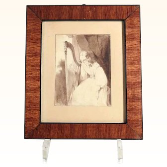 Brush Drawing Young Lady with Harp Romantic Era