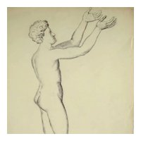 19th Century French Pencil Drawing Study Man Nude Artist Signed