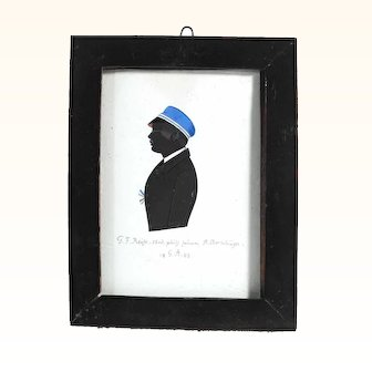 Early 19th Century Painted Silhouette Signed and Dated 1843