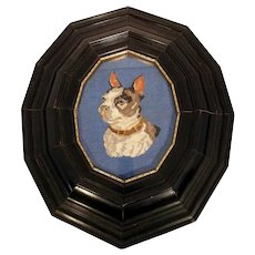 Nice Needlepoint  Embroidery of a Dog ca. 1900