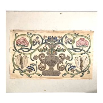Tree of Life Stumpwork Embroidery 19th Century