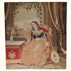 Large Embroidery Young Lady with Dove and Mandolin Needlepoint