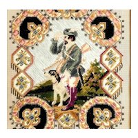 19th Century Embroidery Chase Scenery Hunter Dog