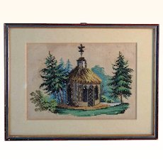 Amazing Beadwork Picture Pavilion Park ca. 1860