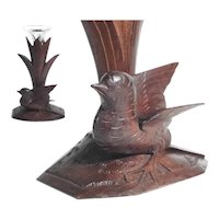Hand Carved Epergne Stand Sparrow Glass Flute