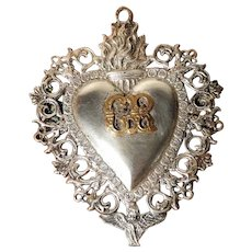 Silver Plated Ex-Voto Most Sacred Heart of Jesus