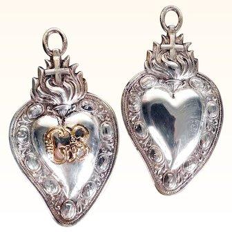 Pair of Matching Tiny Ex-Voto Votives Jesus Sacred Heart Passion Instruments