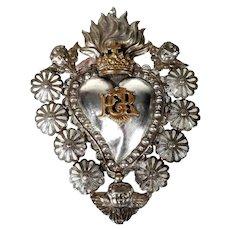 Beautiful Antique Reliquary Ex-Voto Sacred Heart of Jesus