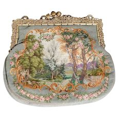 Nice and Elegant Fabric Purse w. Intricate Brass Frame and Jeweled Closure