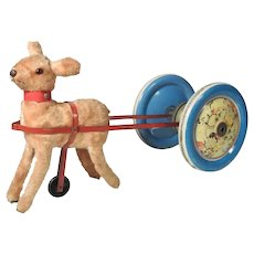 German Toy Fawn with Cart and Bell ca. 1945