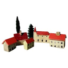 Putz Miniature Wooden Houses and Churches Fir Trees 7 Pieces Doll Village