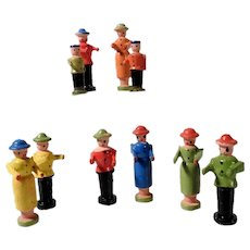 Set of Wooden Miniature Figurines Erzgebirge Doll House Red Tag Sale Priced