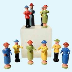Set of Ten Wooden Miniature Figurines Erzgebirge Doll House