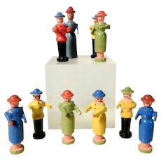 Set of Ten Wooden Miniature Figurines Erzgebirge Doll House