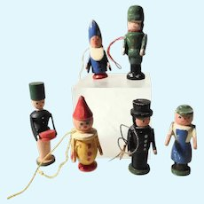 Set of Six Old Wooden Figurines Erzgebirge Santa Chimney Sweep and more