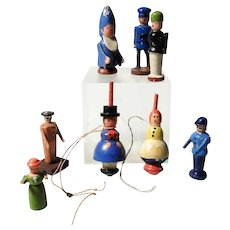 Set of 8 Darling Wooden Figurines Erzgebirge Two Whipping Tops