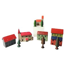 Set of Putz Miniature Wooden Houses and Churches Fir Trees 11 Pieces Doll Village