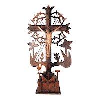 Folk Art Crucifix Open Work Instruments of Passion Arma Christi