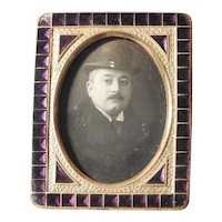 Small 19C French Bronze & Violet Enamel Miniature Frame Doll Size