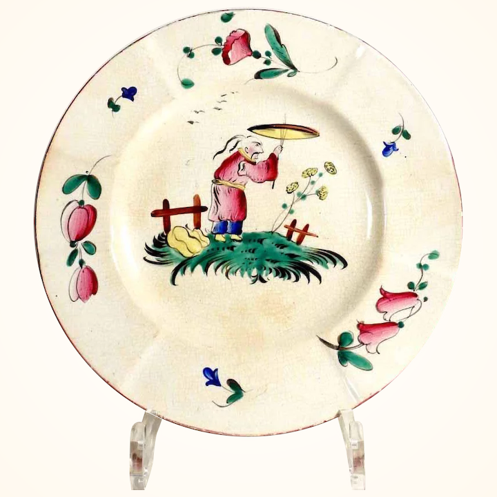 Old French Majolica Wall Plate Decor Au Chinois Strasbourg Hannong