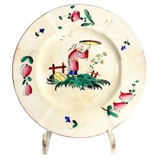 "Old  French  Majolica Wall Plate ""Decor au chinois"" Strasbourg Hannong"