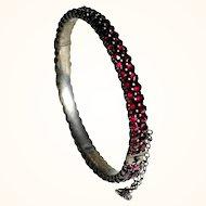 Amazing Bohemian Garnet Bracelet Cuff  ca. 1900