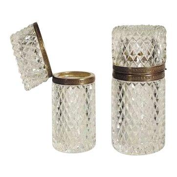 Diamond Cut Crystal Glass Box Lovely Shape