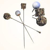 Three Amazing Hat Pin Brass and Lapis Lazuli Top ca. 1900/20